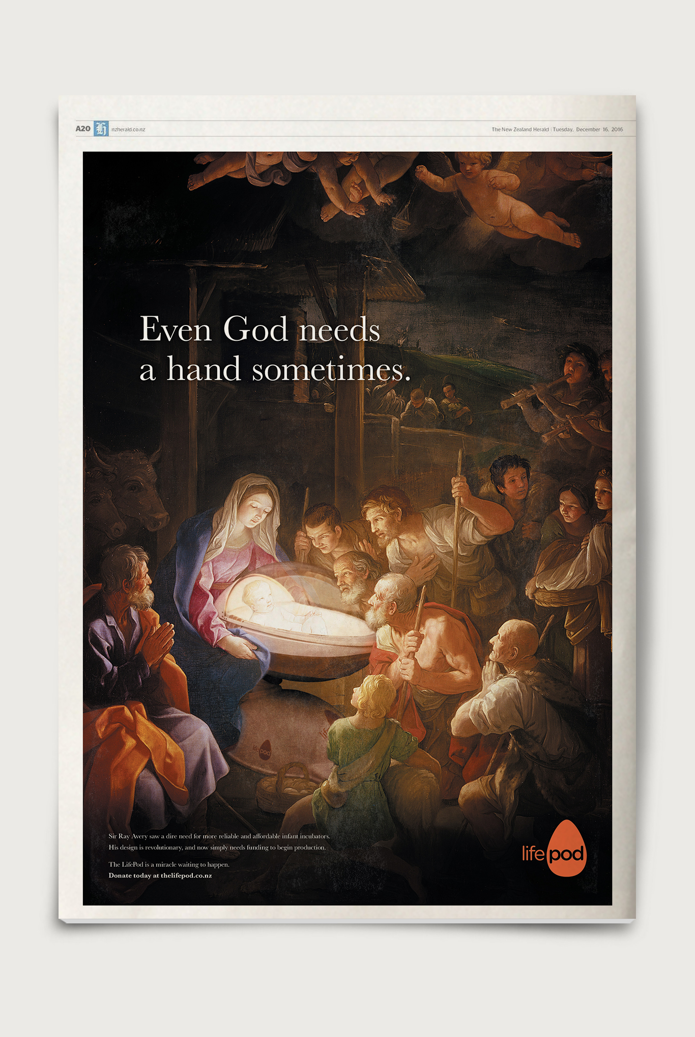 NZ Herald Print Advertisement for the LifePod Christmas Appeal